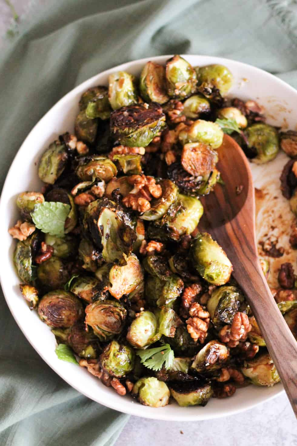 Crispy Roasted Brussels Sprouts With Goat Cheese And Walnuts